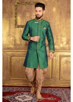 Unique Green Banarasi Silk Sherwani