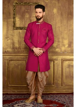 Astonishing Violet Dhoti Style Sherwani