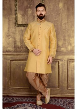 Incredible Golden Banarasai Silk Sherwani