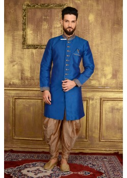 Incredible Blue Banarasi Silk Sherrwani
