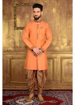 Enhanting Peach Party Wear Sherwani