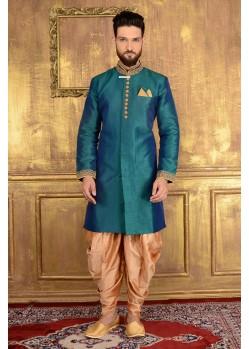 Scintillating Rama Banarasi Silk Sherwani