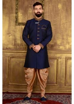 Neavy Blue Banarasi Silk Sherwani