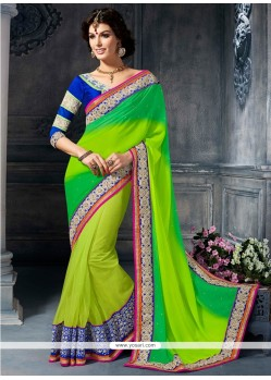 Gorgeous Green Georgette Designer Saree