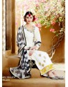 White Cotton Satin Salwar Kameez