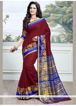 Woven Work Maroon Traditional Saree