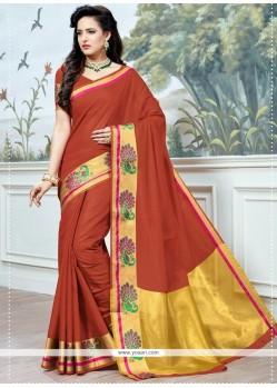 Maroon Cotton Silk Designer Traditional Saree