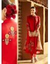 Red Pure Linen Salwar Kameez