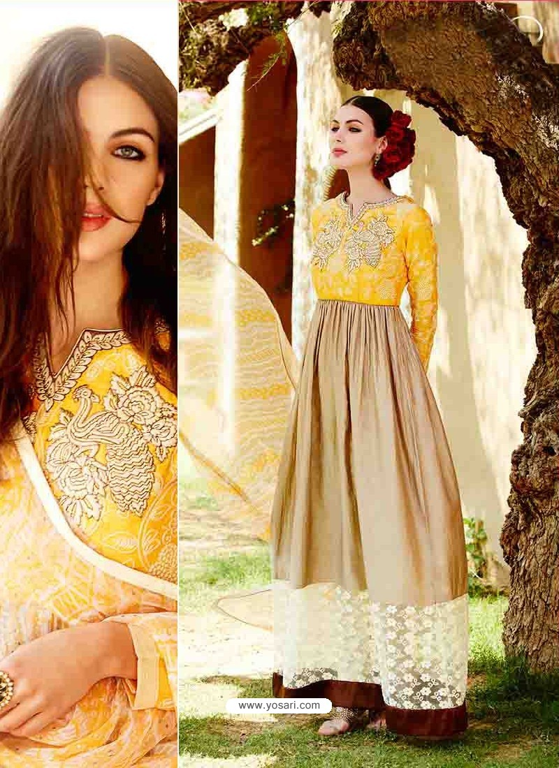 Yellow And Cream Cotton Satin Salwar Kameez