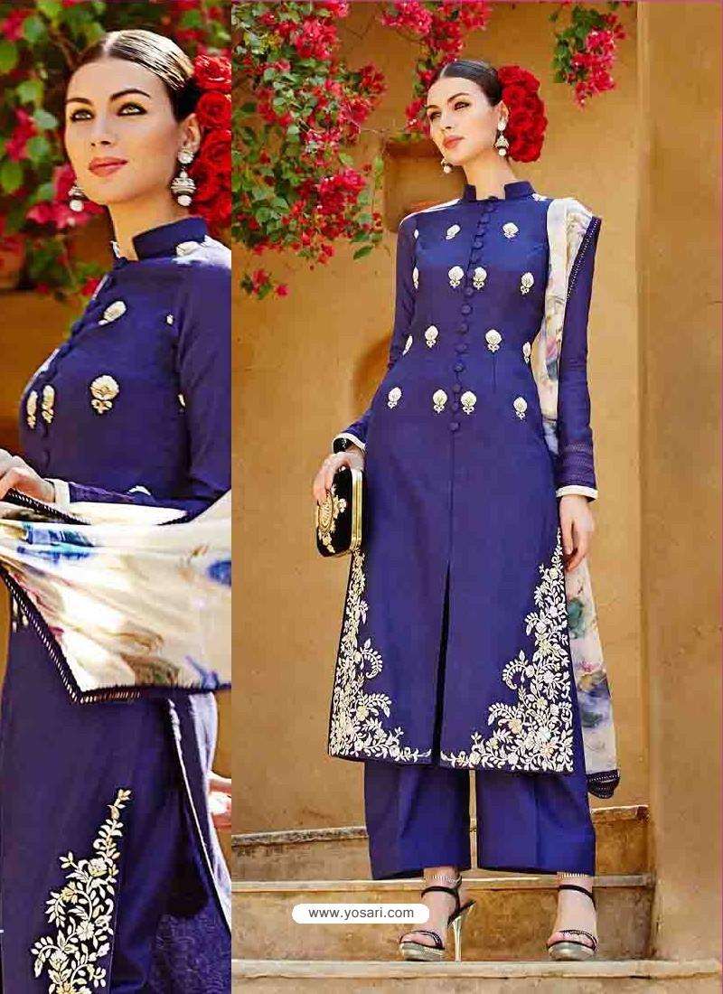 Blue Pure Linen Salwar Kameez