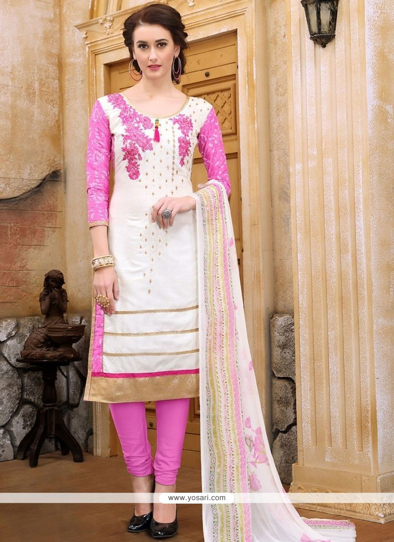 1ec20995dc Buy Pink And White Churidar Designer Suit | Churidar Salwar Suits