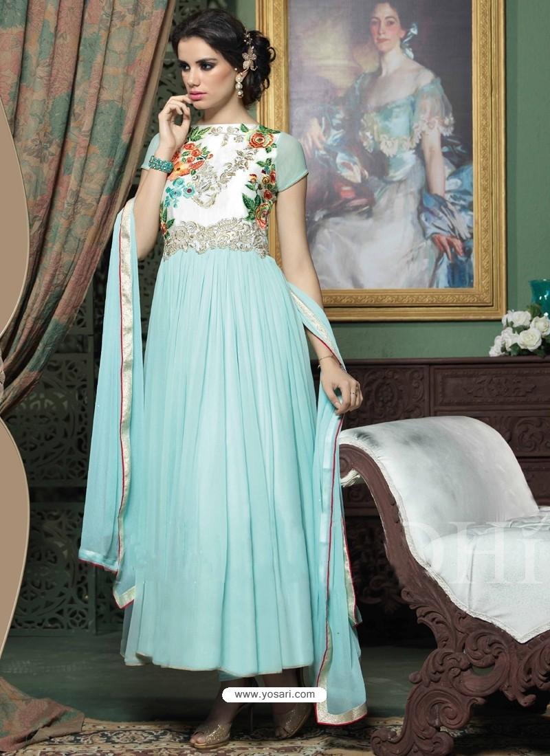 Sky Blue Georgette Anarkali Suit