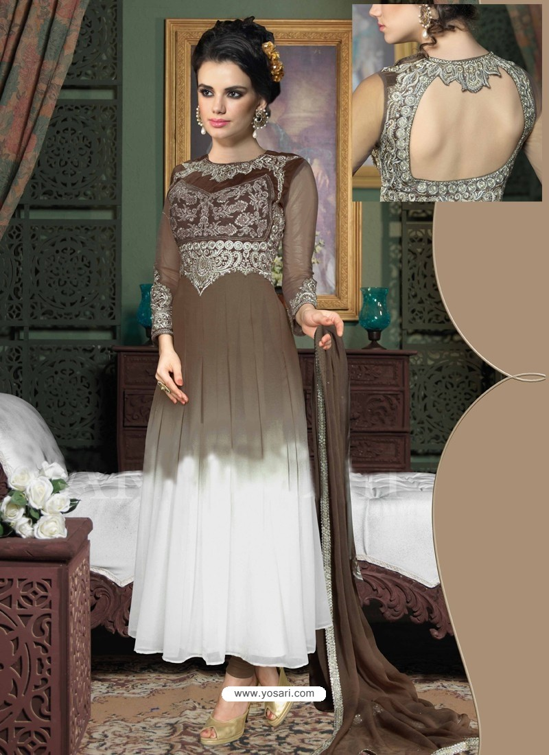 white And Brown Georgette Anarkali Suit