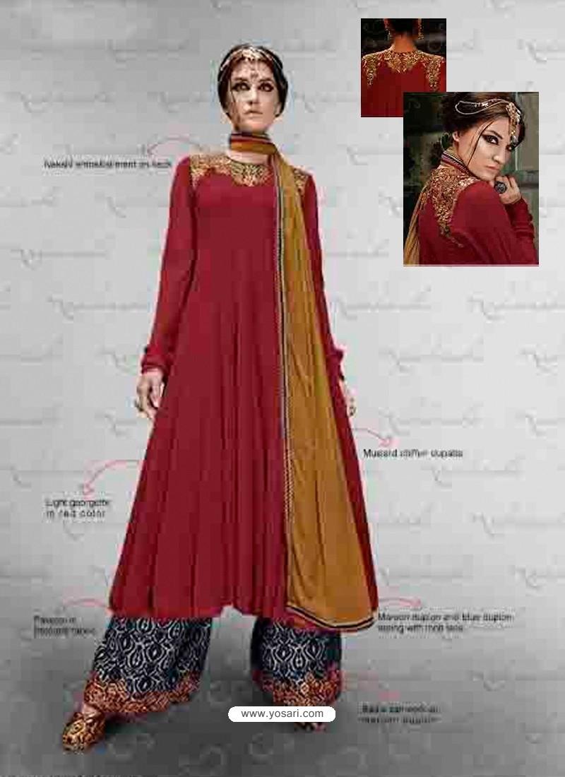 Maroon Embroidered Work Pakistani Suit