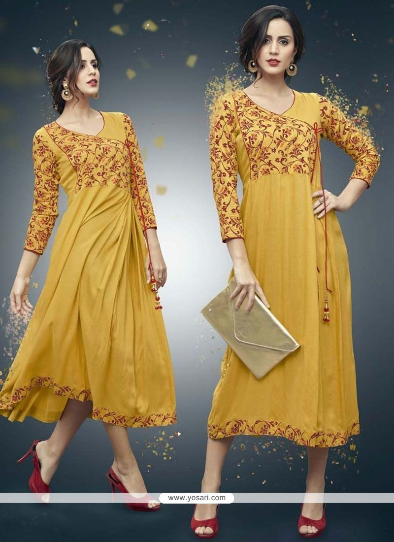 7c54cd7376 Buy Print Work Mustard Rayon Party Wear Kurti | Party Wear Kurtis