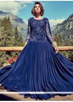 Faux Georgette Blue Designer Gown
