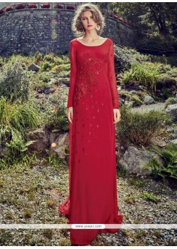 Red Faux Crepe Embroidered Work Designer Gown