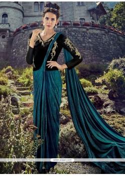Resham Lycra Designer Gown In Black And Teal