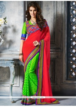 Eyeful Red And Green Art Silk Designer Saree