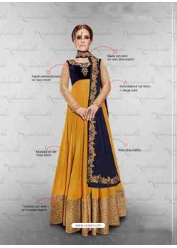 Mustard Embroidered Work Anarkali Suit