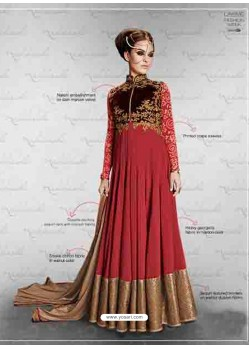 Maroon Embroidered Work Anarkali Suit