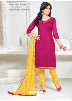 Magenta And Yellow Chanderi Churidar Salwar Suits