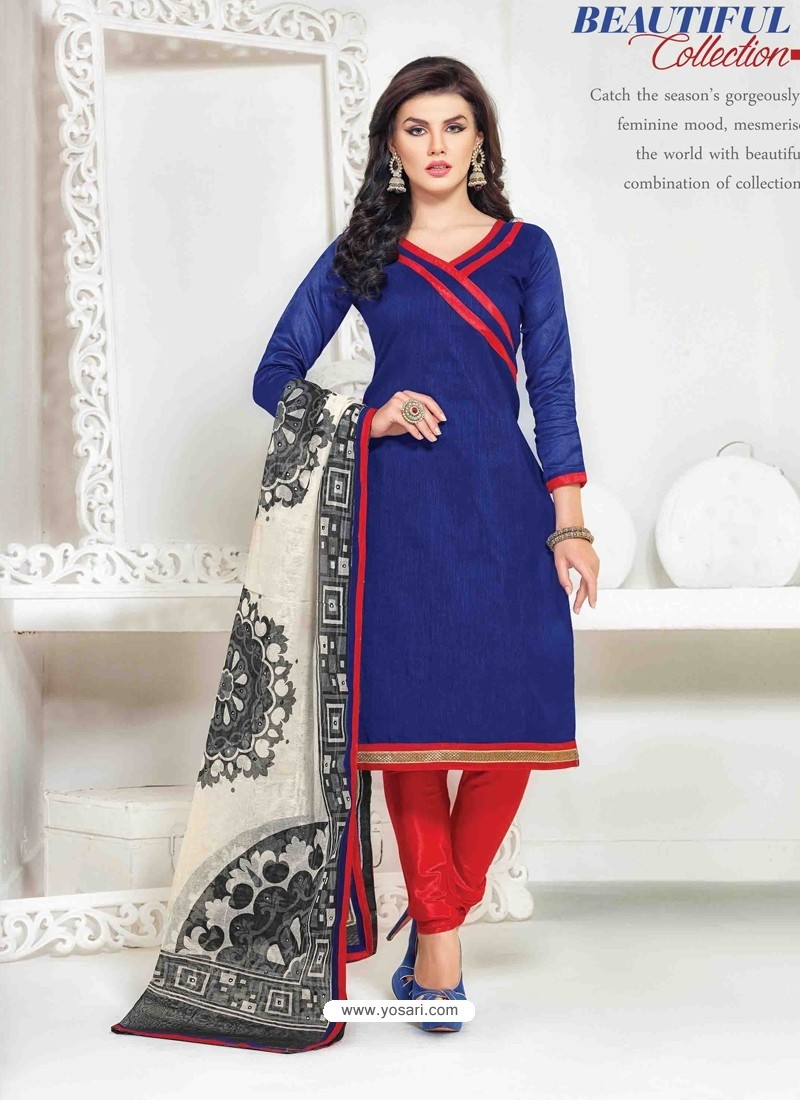 Navy Blue And Red Chanderi Churidar Salwar Suits