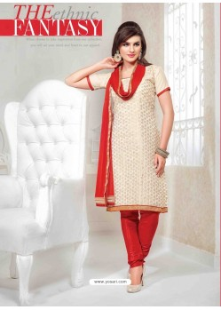 Cream And Red Chanderi Churidar Salwar Suits