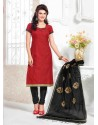 Red And Black Chanderi Churidar Salwar Suits