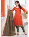 Orange And Grey Chanderi Churidar Salwar Suits