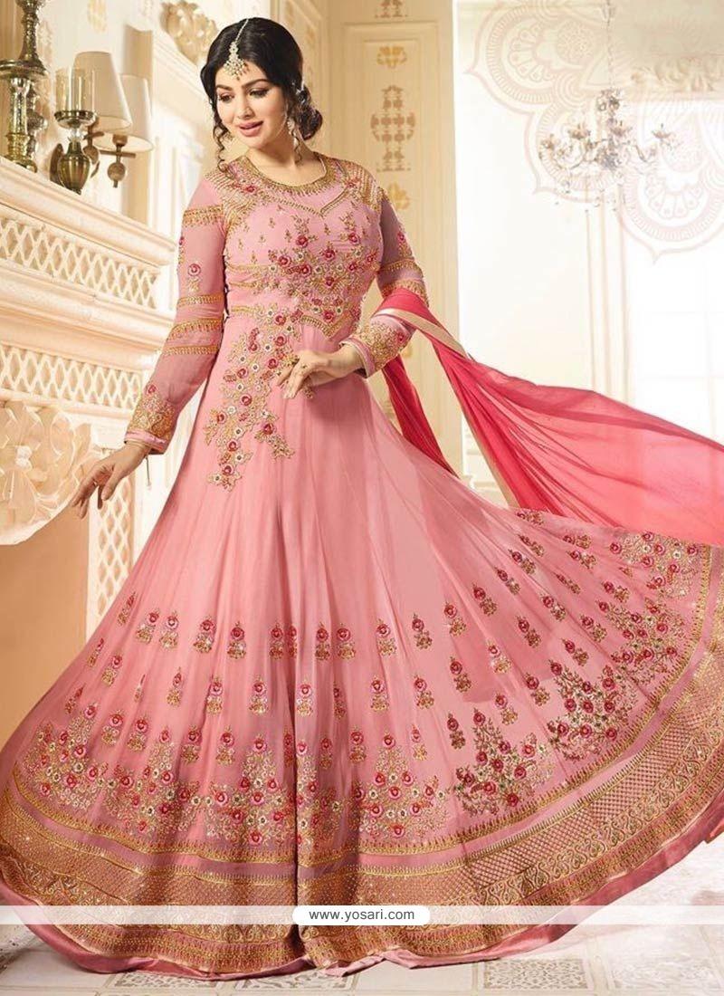 740eb459fc Ayesha Takia Pink Faux Georgette Resham Work Floor Length Anarkali Suit