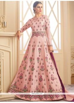 Art Raw Silk Pink Floor Length Anarkali Suit