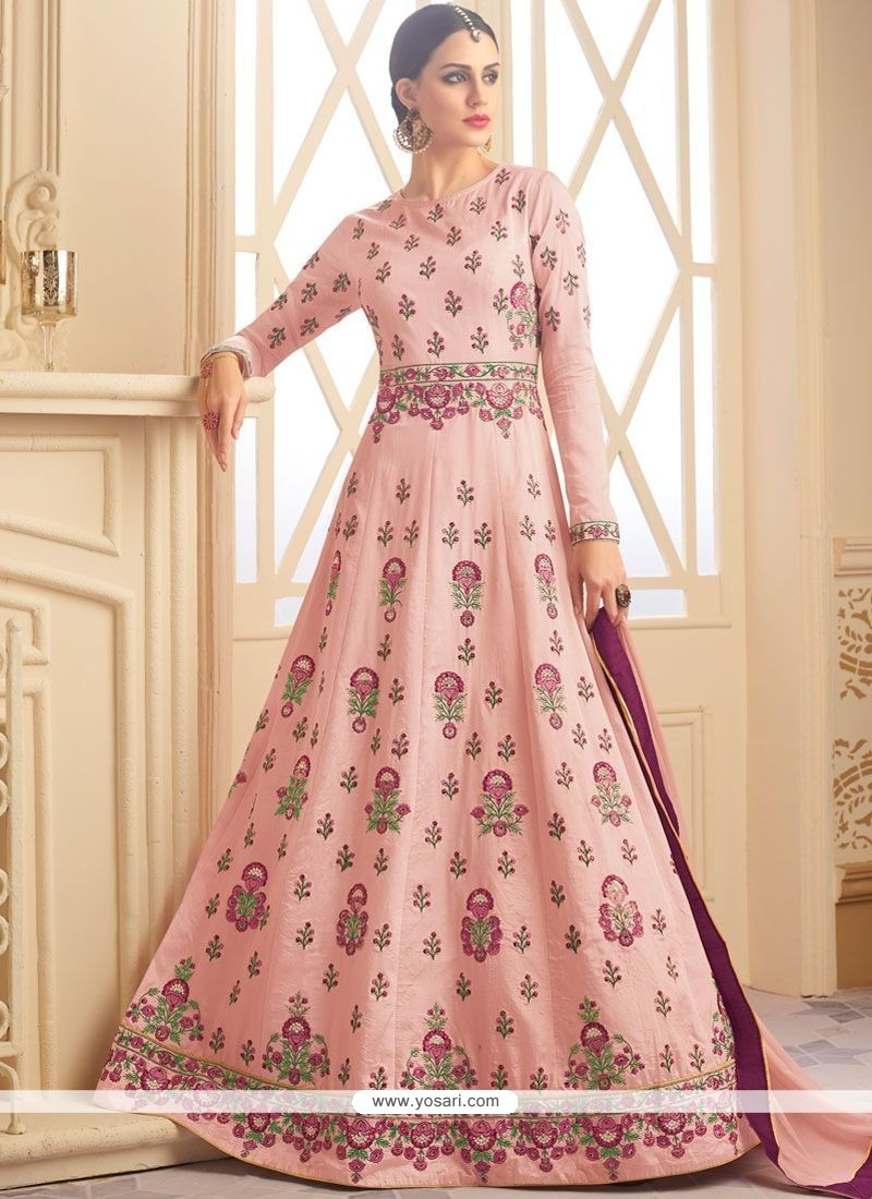 52598f995e Buy Art Raw Silk Pink Floor Length Anarkali Suit | Anarkali Suits
