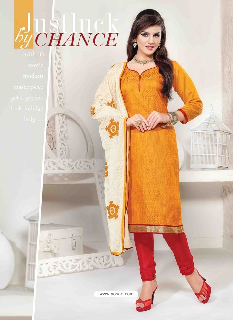 Mustard And Red Chanderi Churidar Salwar Suits