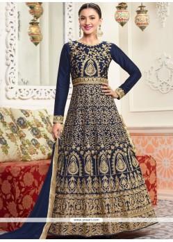 Gauhar Khan Navy Blue Floor Length Anarkali Suit