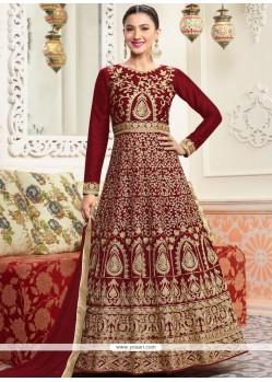 Gauhar Khan Maroon Floor Length Anarkali Suit