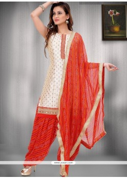 Lace Work Beige Raw Silk Readymade Suit