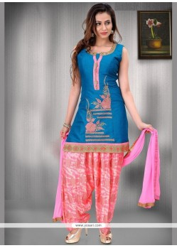 Print Work Blue Raw Silk Readymade Suit