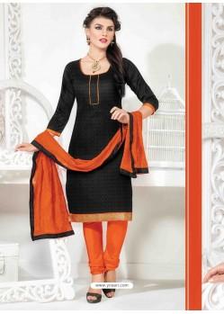 Orange And Black Chanderi Churidar Salwar Suits