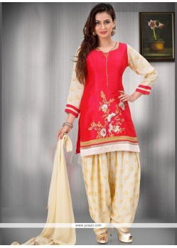 Print Work Red Readymade Suit