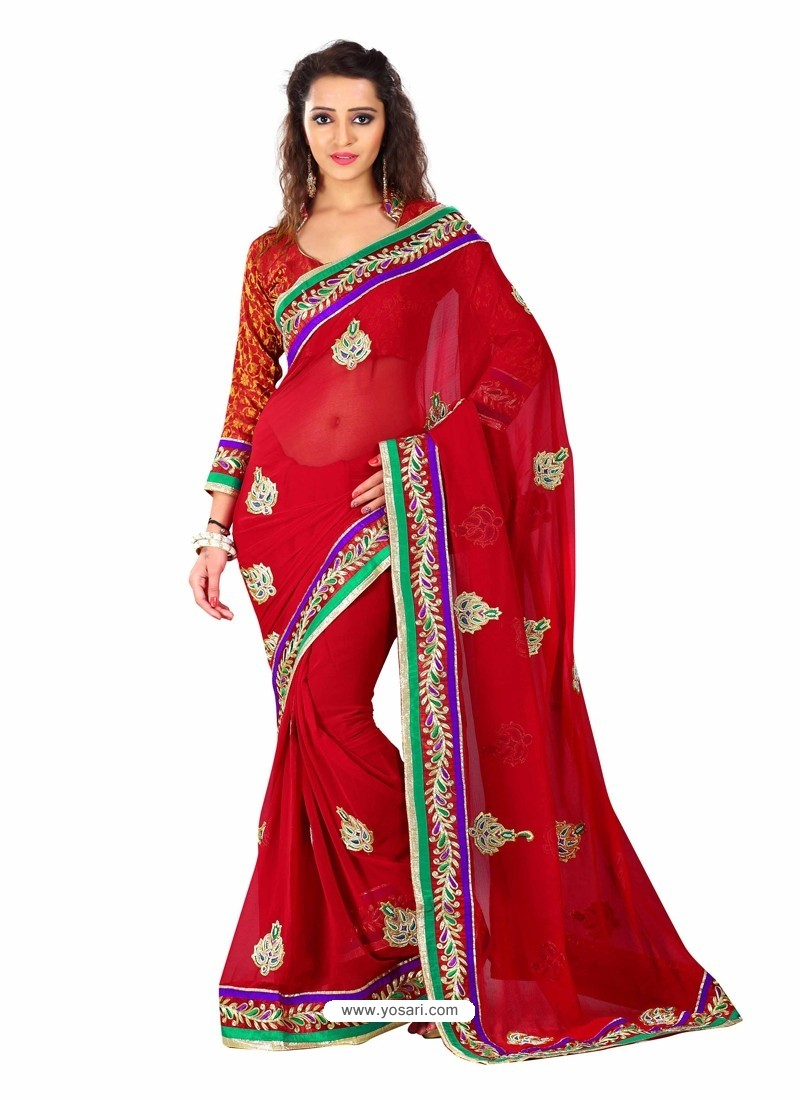 Red Embroidered Work Designer Saree