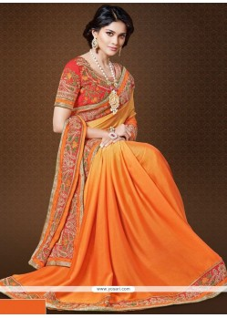 Chiffon Satin Orange Embroidered Work Designer Saree