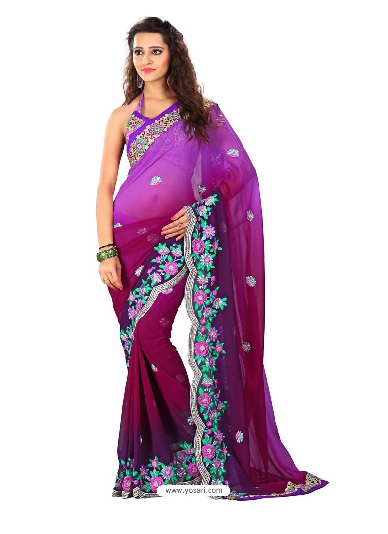 Violet Shade Embroidered Work Designer Saree