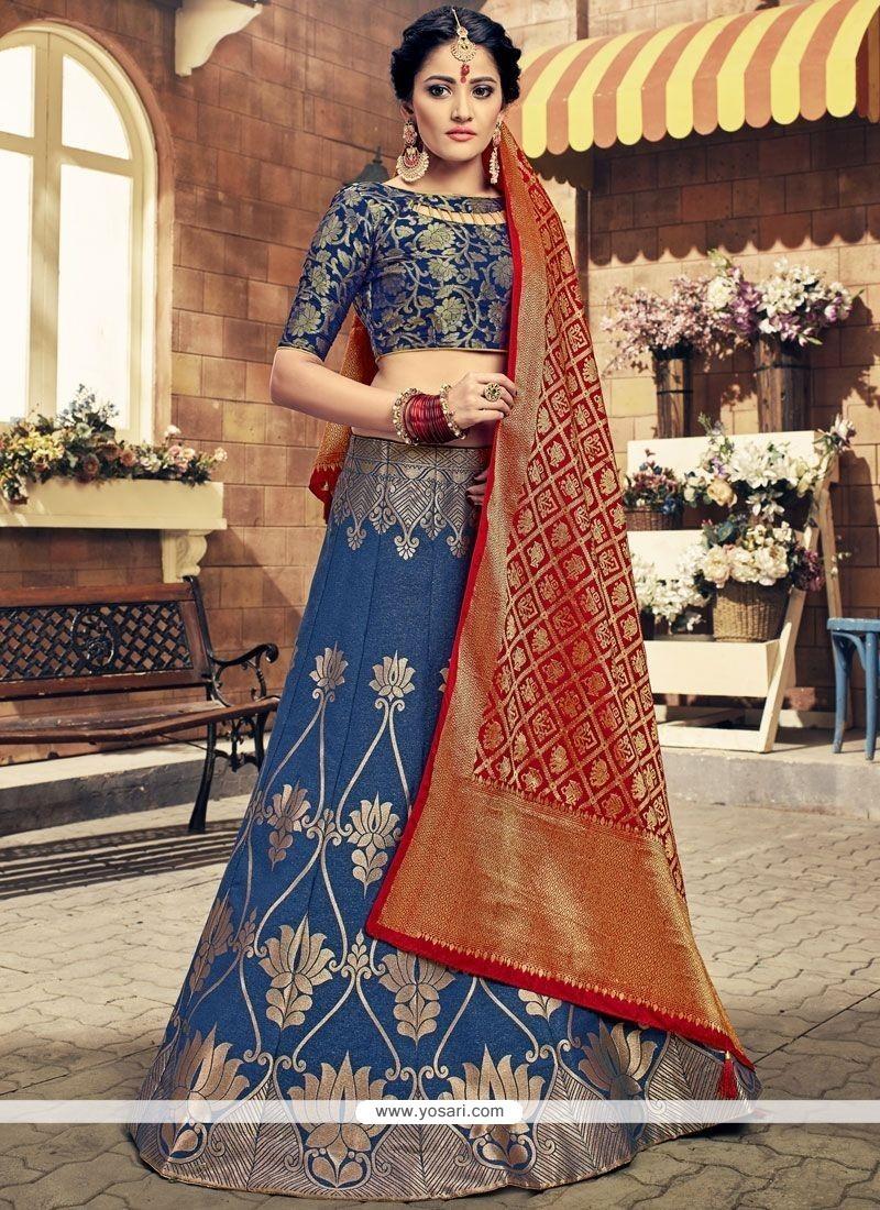 c57a75112dea2b Buy Art Silk Navy Blue Lehenga Choli | Wedding Lehenga Choli