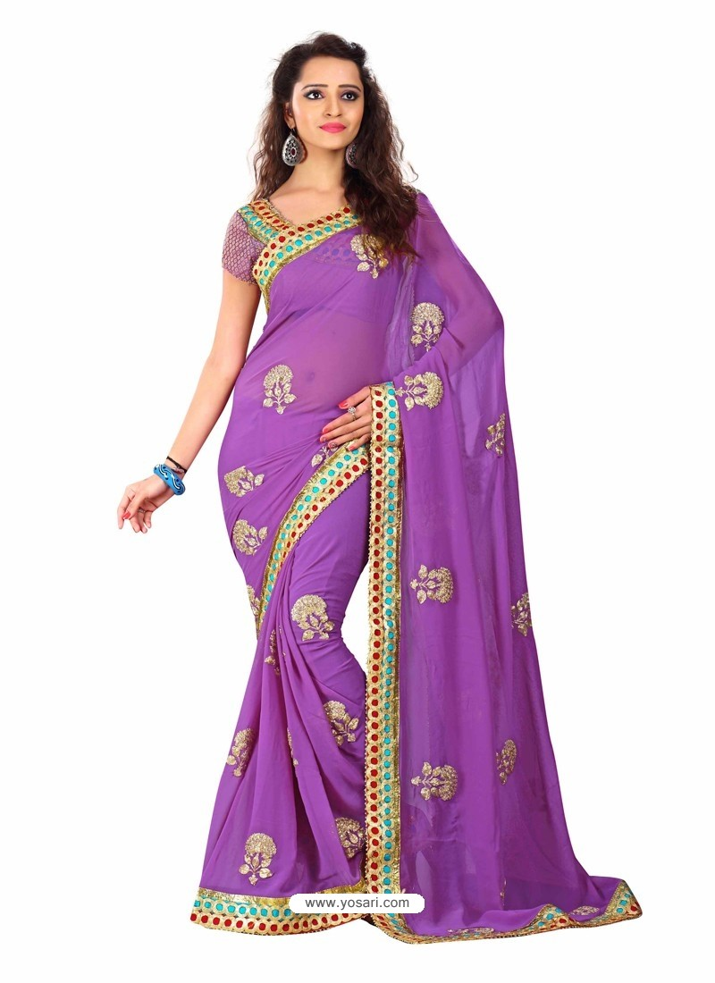 Violet Embroidered Work Designer Saree