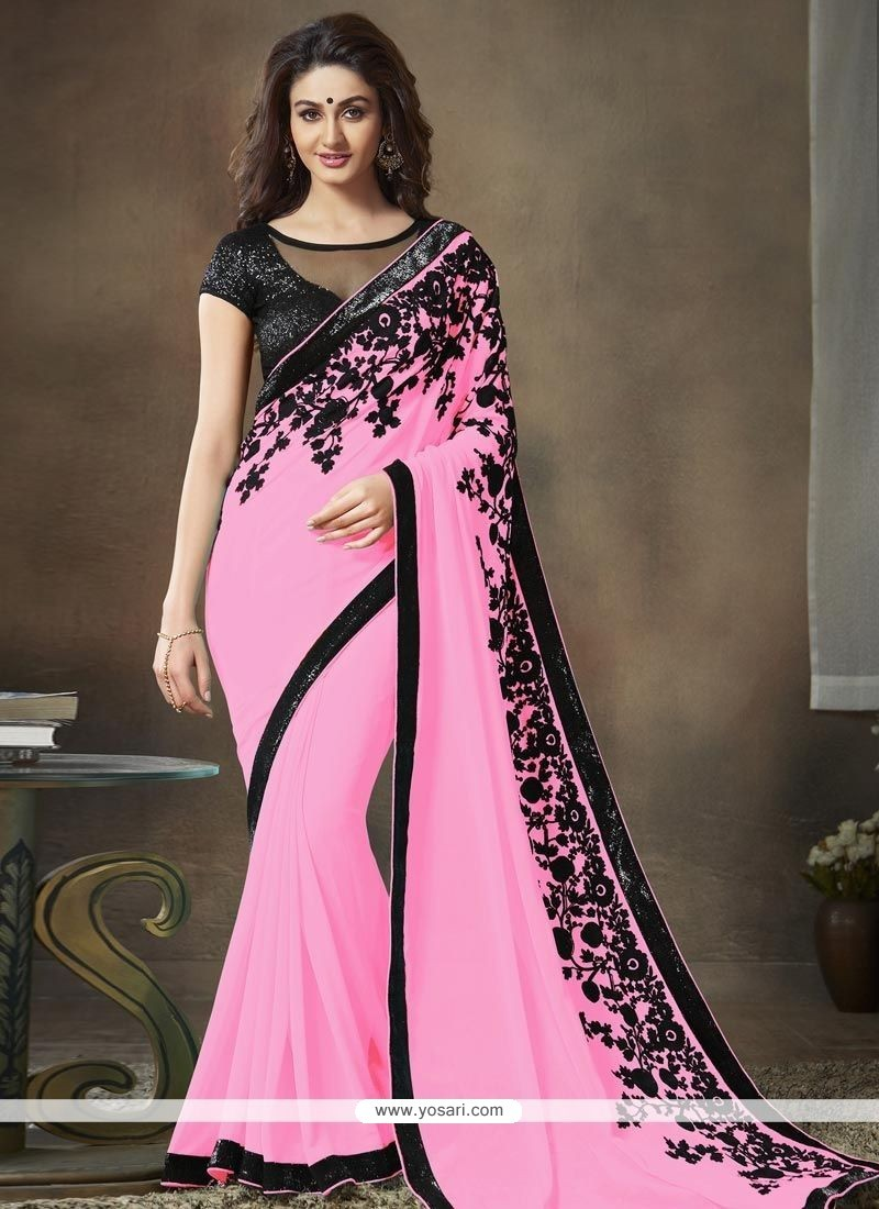 efead3e89 Buy Pink Faux Georgette Saree