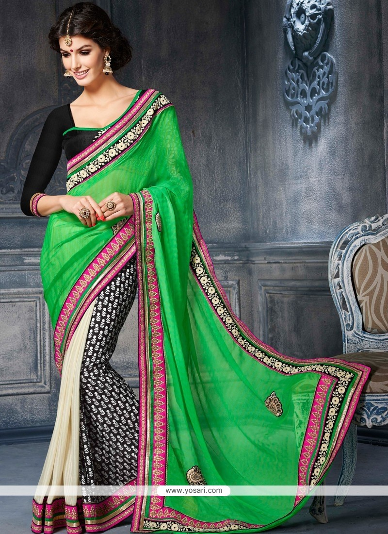 Desirable Green And Black Cotton Designer Saree