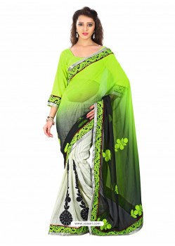 Green Embroidered Work Designer Saree