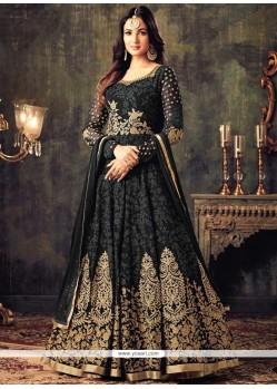 Faux Georgette Black Resham Work Floor Length Anarkali Suit