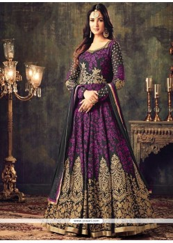 Faux Georgette Lace Work Floor Length Anarkali Suit